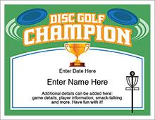 Disc golf champion certificate