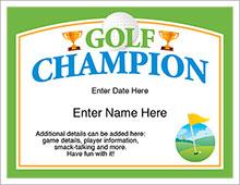 golf champion certificate