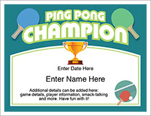 Ping pong champion certificate