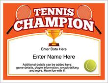 tennis champion certificate