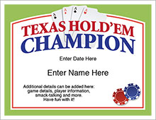 Texas Hold'em Champion Certificate