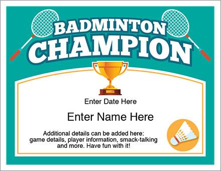 Badminton champion certificate free award certificates badminton champion award certificate yadclub Choice Image