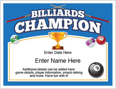 billiards champion certificate free award certificates