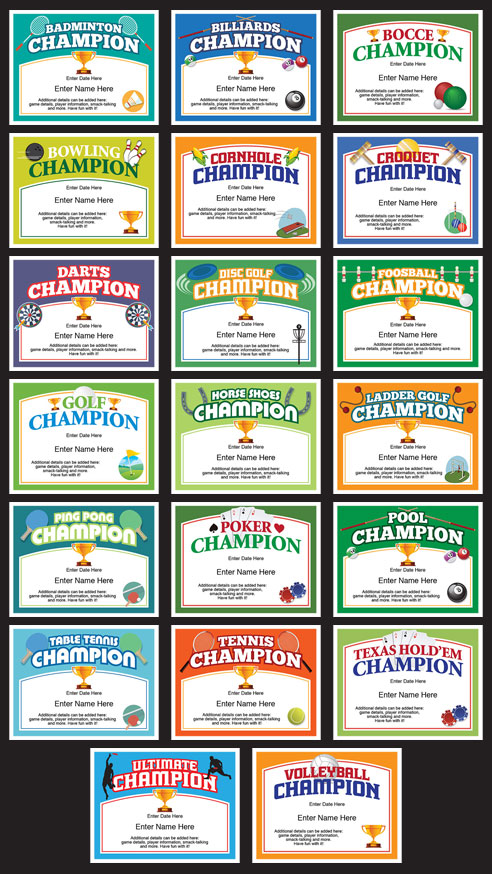 Champion award certificate grid