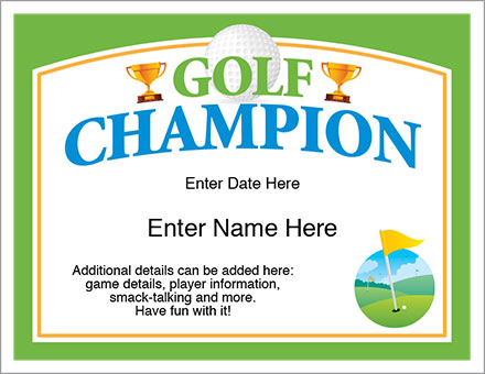 Golf Champion Certificate