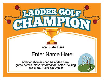 Ladder Golf Award Certificate