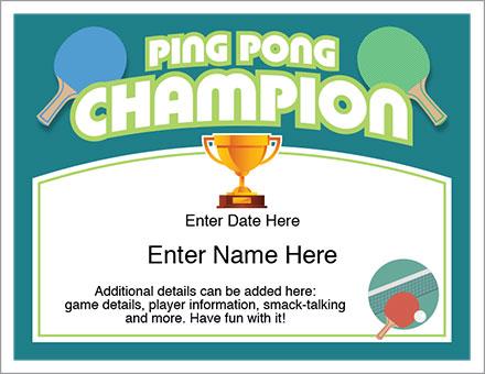Ping Pong champion award certificate
