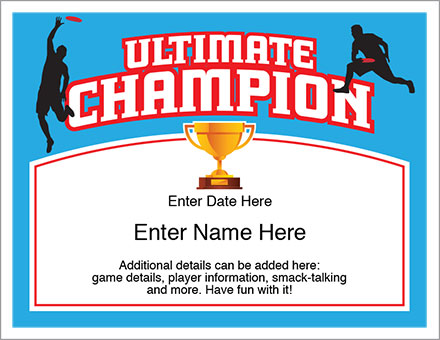 Ultimate Certificate | Ultimate Frisbee | Awards Personalize