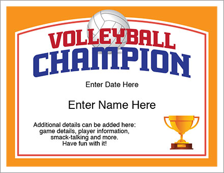 Volleyball Champion Certificate  Free Award Certificates