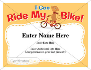 ride a bike certificate image