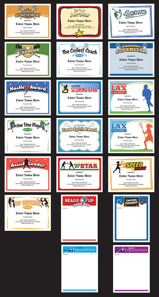 Lacrosse certificates templates award certificates boys girls lacrosse certificates set image yelopaper Gallery