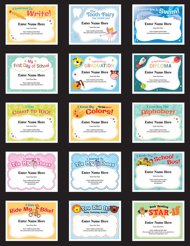 child certificates - kid milestones image