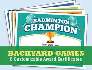 Backyard Games Certificates Templates