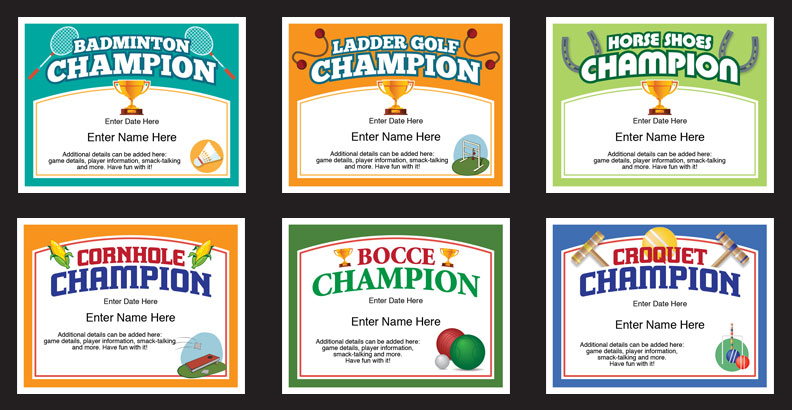 Backyard Games Certificates Templates Lawn Games Awards