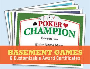 Basement Games Certificates Templates