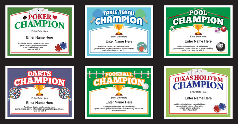 Basement Games Certificates Templates image