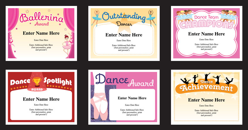 Dance Certificate Templates Dancing Awards Dance Class
