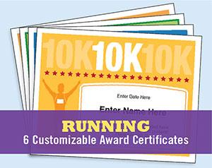 running award certificate button