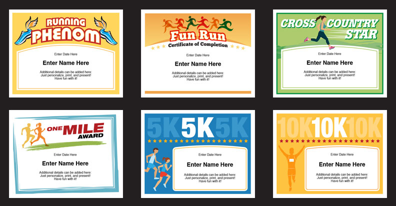 Running certificates templates runner awards cross country for Running certificates templates free