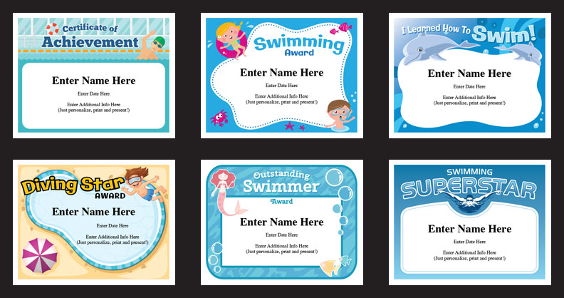 swim certificates templates grid