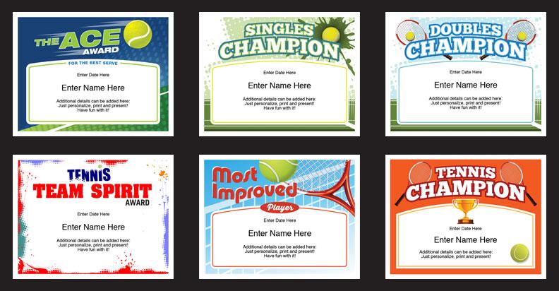 tennis certificates templates grid