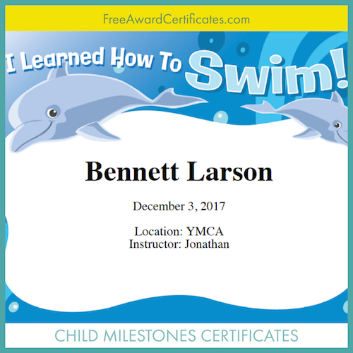I can Swim certificate image
