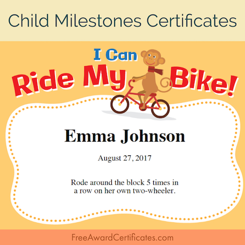 how to teach your kid to ride a bike free award certificates