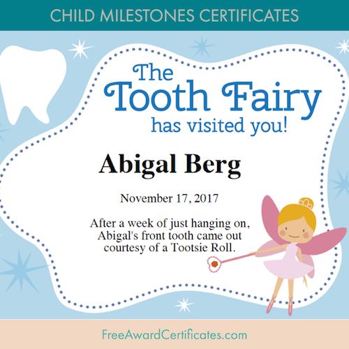 Tooth Fairy certificate image